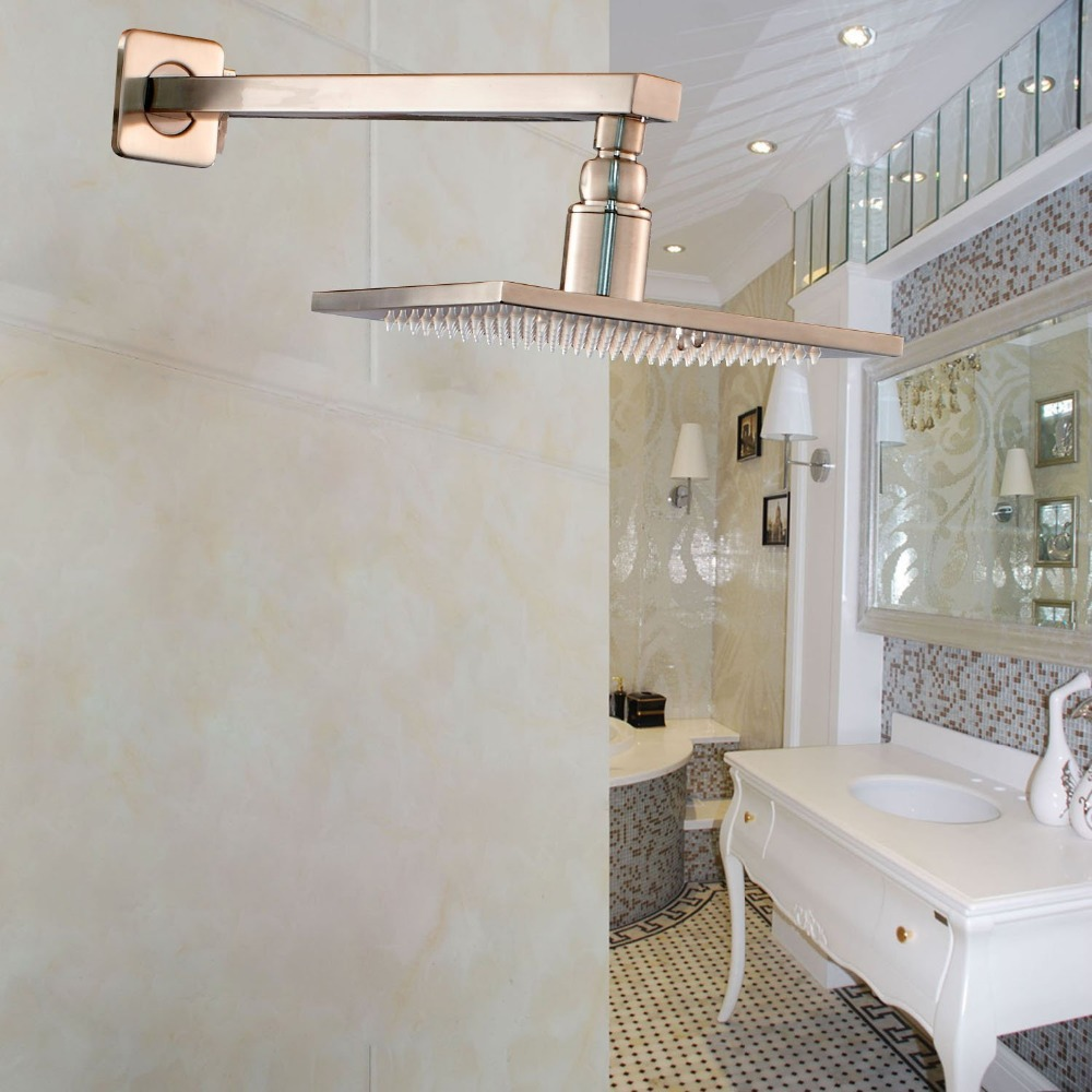 ФОТО Brushed Nickel 8 Inch Top Shower Head with Wall Mounted Shower Arm