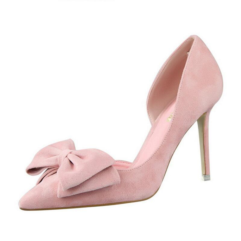 Sexy Ladies High Heels Pointed toe Shallow Mouth Flock Stilettos Female Sweet Butterfly-knot Thin Pumps Fashion Wedding Shoes new 2017 spring summer women shoes pointed toe high quality brand fashion womens flats ladies plus size 41 sweet flock t179
