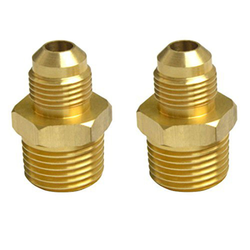 2 PCS Compression  Metals Brass Couples Tube Fitting, Half-Union Gas Adapter, 3/8 Flare x 1/2 Male Pipe flare tube od 16mm x 3 4 bsp male brass flare male connector tube pneumatic fitting with short flare nut