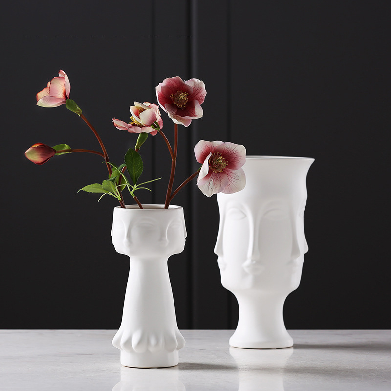 Creative White matte glazed face Ceramic Tabletop vase model ornament portrait Vase Home Decor