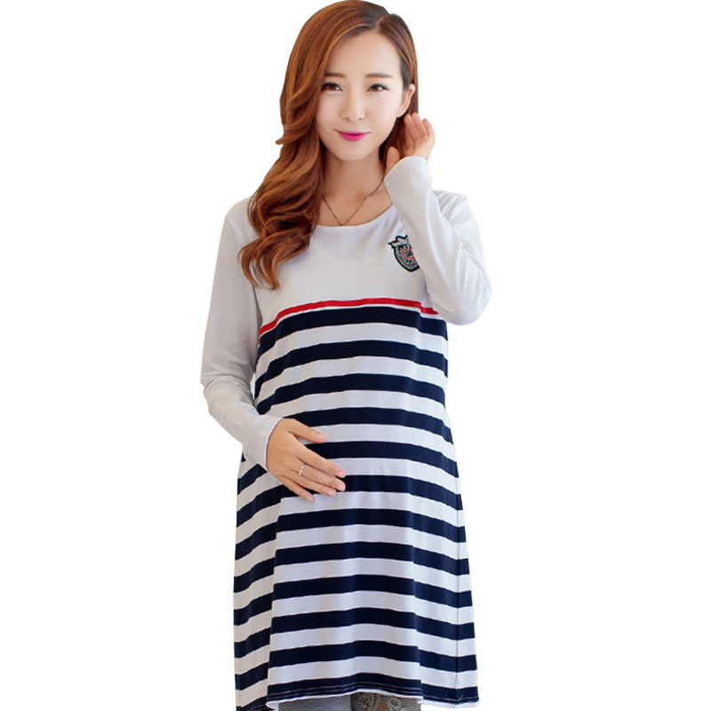 Maternity Clothing Casual Women Clothes Striped Maternity Dress Nursing Dress Long-Sleeve Pregnant Women Breastfeeding Dress New