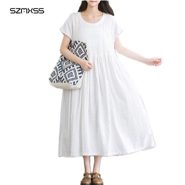 Льняное платье Большие размеры свободные Повседневное короткий рукав Винтаж Для женщин летние белые Платья для женщин длинные 2017 карман Модные Макси Сарафан Vestido
