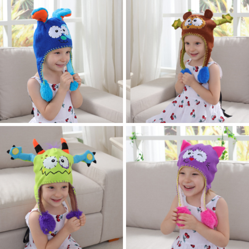 Moving Ear Hat Children Cartoon Knitted Hat Sweet Birthday Party Gift Kawaii Animal Hat Festival Props
