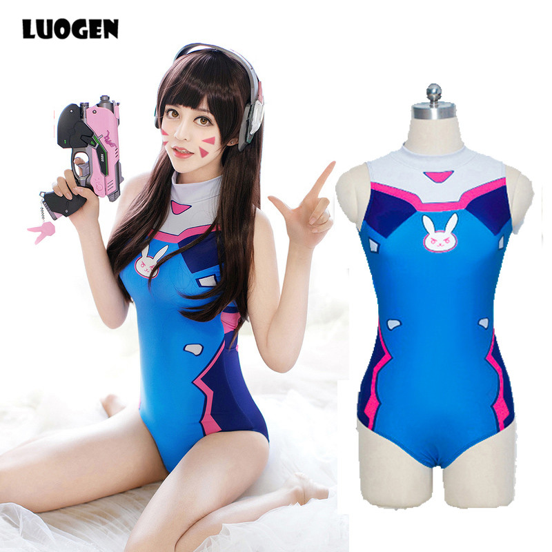 <font><b>Sexy</b></font> Game OW <font><b>D</b></font>.VA Dva Mercy Cosplay Costume One Piece Swimwear Evangelion EVA Swimsuit SUKUMIZU <font><b>S</b></font>-L image