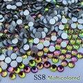 Brillante estupendo de Calidad Superior 1440 UNIDS SS8 2.4-2.5mm Rainbow Glitter Hotfix Crystal Nail Art Decoraciones Flatback 8ss Rhinestones