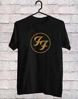 FF Foo Fighters Logo In Gold Black T Shirt Tee Shirt S 3XL