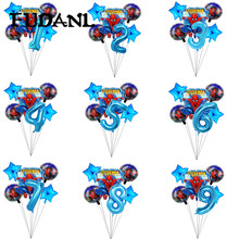 6pcs Spiderman Foil Helium Balloons 40 Number Party Inflatable Ball Baby Shower Birthday Party Decoration Kids Toys Star Globos inflatable lighting star for party decoration