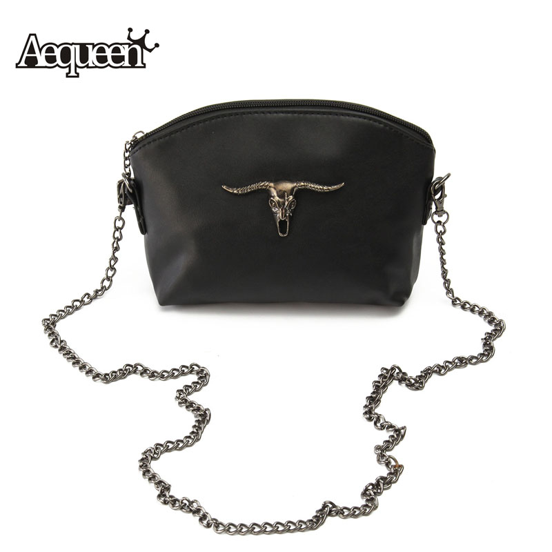 2016 halloween women messenger bags cow skull chain vintage lady small bags leather crossbody girls satchel flap shoulder bag - Halloween Handbag