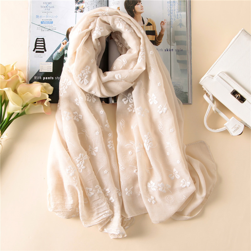 2019 Spain Brand Spring Women Scarf Fashion Soft Thin Long Silk Scarves Cotton Winter Shawl Lady Pashmina Bandanas Foulard Hijab