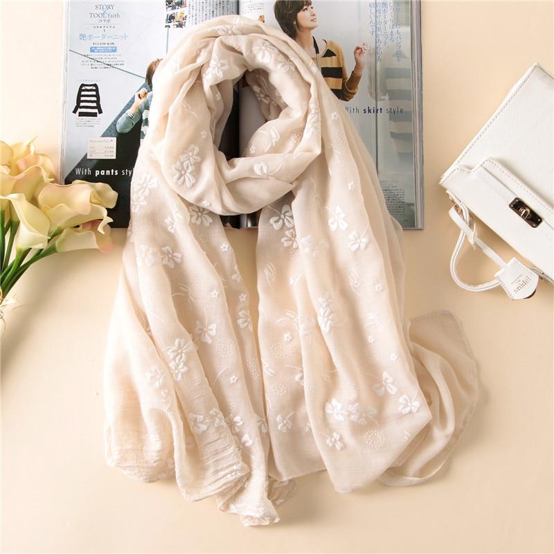 2019 Spain Brand Spring Women Scarf Fashion Soft Thin Long Silk Scarves Cotton Winter Shawl Lady Pashmina Bandanas Foulard Hijab