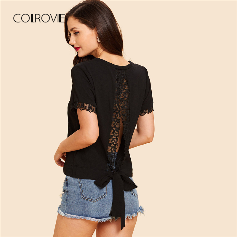 COLROVIE Black Workwear V Neck Lace Trim Women Blouse Shirt 2018 Summer  Solid Casual Short Sleeve e3b65cdb9bdd