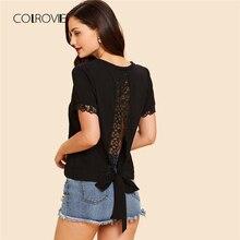 COLROVIE Black Workwear V Neck Lace Trim Women Blouse Shirt 2018 Summer Solid Casual Short Sleeve Feminine Blouse Women Tops