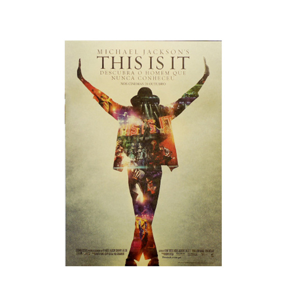 This Is It Michael Jackson Poster Vintage Retro Kraft Paper Musician Dancer Wall Sticker Wallpaper Home Bedroom Decoration in Wall Stickers from Home Garden