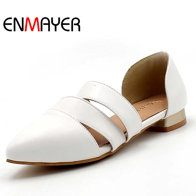 ENMAYER Fashion New Women Summer Flats Shoes Woman Large Size 34-43 White Shoes Pointed Toe Fashion Flats Sandals Casual Shoes suede slingback 9 bling black women pointed toe large size summer flats rhinestone sandals ankle strap ladies beautiful shoes
