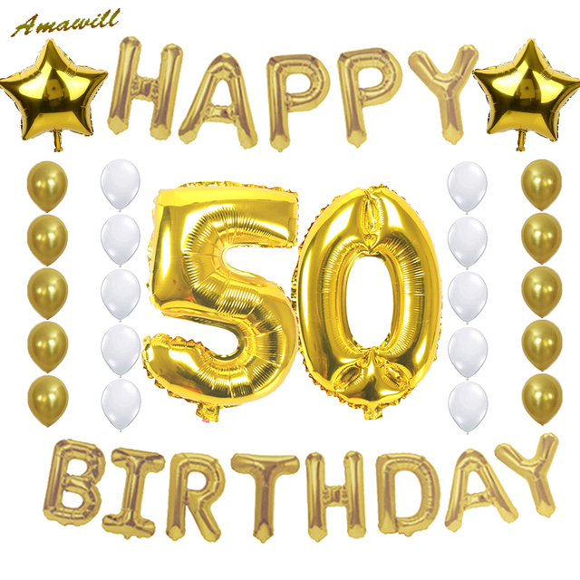 Amawill 50th Birthday Party Decoration 50 Years Old Celebration Supplies Happy Foil Balloon Gold White