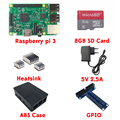 Raspberry Pi 3 Model B + 2.5A Power Adapter + 8GB Micro SD Card + ABS Case + T Style GPIO Module + Aluminum Heat Sink