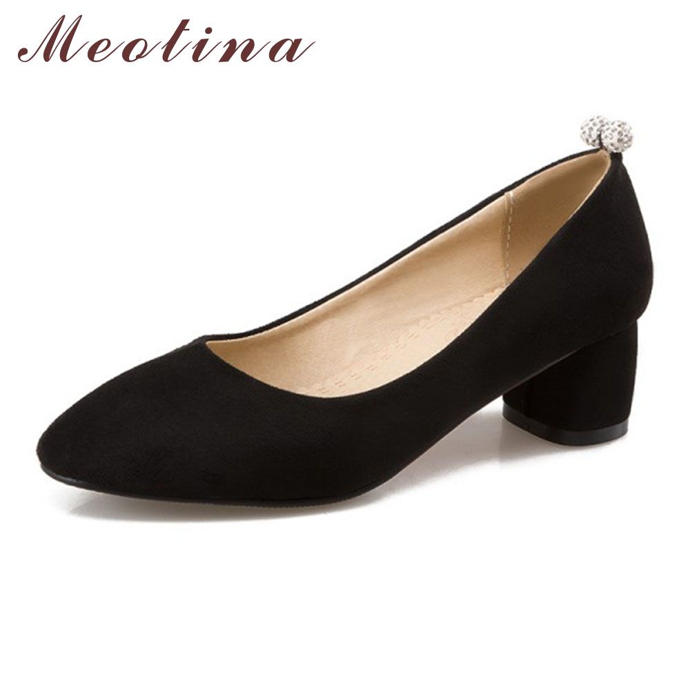 Meotina Shoes High Heels Women Pumps Square Toe Causal Shoes Thick High Heels Shallow Basic Ladies Shoes Pink Large Size 42 43 meotina high heels shoes women pumps party shoes fashion thick high heels pointed toe flock ladies shoes gray plus size 10 40 43
