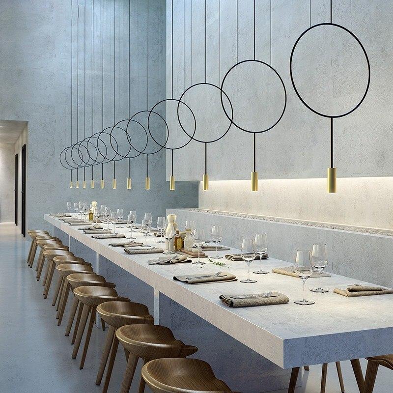Nordic лампа круглый круг подвесной светильник современный металлический черный золотой подвесные лампы Кухонные светильники подвесной свет