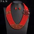 Новейшие Нигерии свадебные ювелирные наборы хрустальный цветок ожерелье & подвеска женщины себе воротник ожерелье Африканские бусы ювелирные наборы