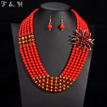 Newest Nigerian wedding bridal jewelry sets crystal flower necklace & pendant women statement collar African beads  jewelry sets