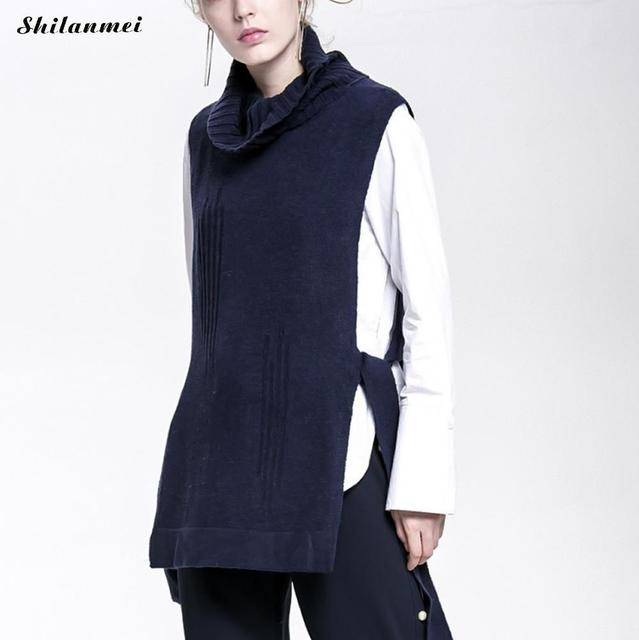 amazing pull femme autumn winter sleeveless turtleneck sweater women long  pullover loose bandage gilet femme jumper with pull long femme 7bf58907bf29