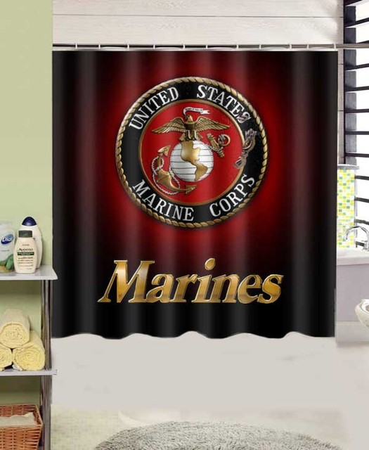 Marines Corp USMC Design Polyester Fabric Shower Curtain 180x180 Cm Waterproof Mildewproof Curtains