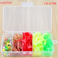 130PC Soft Fish JIG Lead Hook Set 5 Grid PP Box Road Submarine Bait Suit Explosion