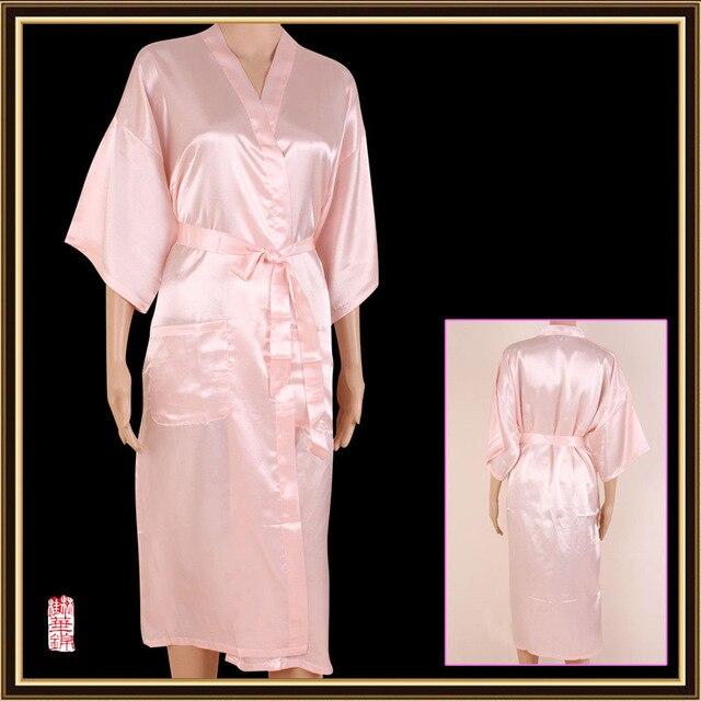 Unisex mens Ladies womens Solid plain Satin long Robe Pajama Lingerie Sleepwear  Kimono Gown M-3XL 5 colors 745a1f3ce