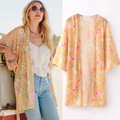 Olrain Women Vintage Floral Print Butterfly Sleeve Loose Kimono Cardigan Blouse Tops Coat