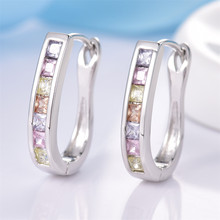 Stylish Earings for Women Silver Color Colorful Stones Engagement Hoop Earrings Fashion Jewelry Christmas Gift MLE303