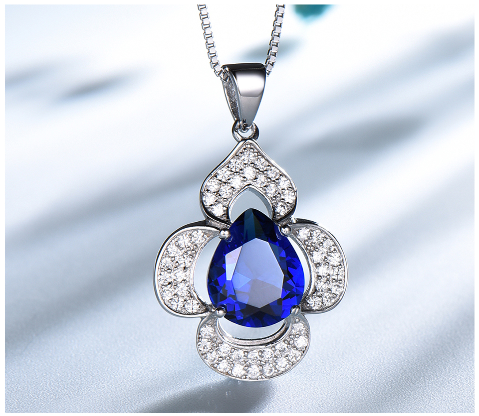 UMCHO-Blue Sapphire 925 sterling silver necklace for women EUJ090S-1 (4)