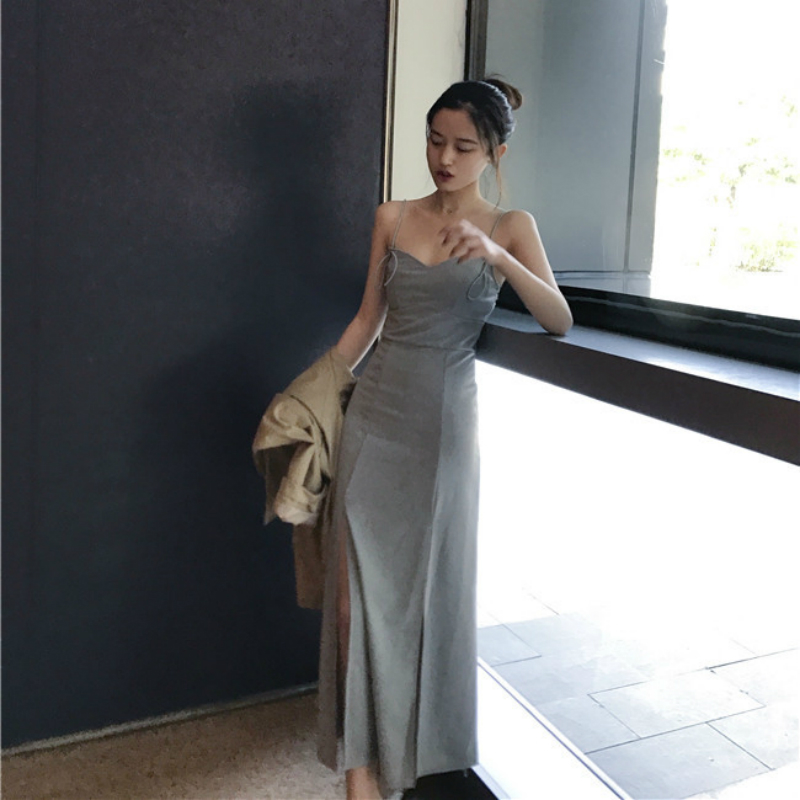 Mazefeng Summer Fashion Dresses Spaghetti Strap Female Solid Sexy Dress Women Forking Dress Ladies Hip Package Buttocks Dress