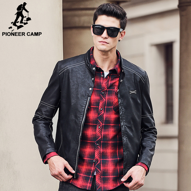 Pioneer Camp Autumn winter PU leather jacket men brand clothing top quality Fashion windbreaker male jackets and coats 677174