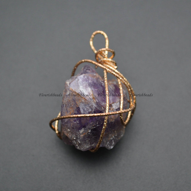 Handmade Wire Wrapped Natural Amethyst Rough Mineral Stone Pendants ...