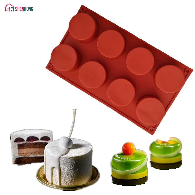 SHENHONG Handmade Round Shape Silicone Cake Mold 3D Cupcake Jelly Pudding Cookie Mini Muffin Soap Mould DIY Moule Baking Tools