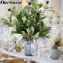 OurWarm 43cm Fake Plants Olive Branch Wedding Decor Green Leaf Artificial Flowers Plastic Plante for Home Garden Decoration
