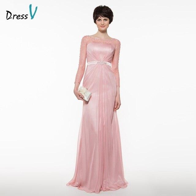 b822b1da1 Dressv brillante oscuro rosa de encaje madre del vestido de novia A-line  mangas largas