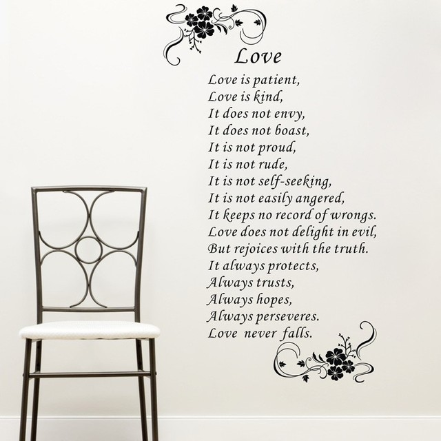 Love Is Patient Love Is Kind Wall Art Vinyl Stickers Bible Verses Wall Quote  Stickers Home
