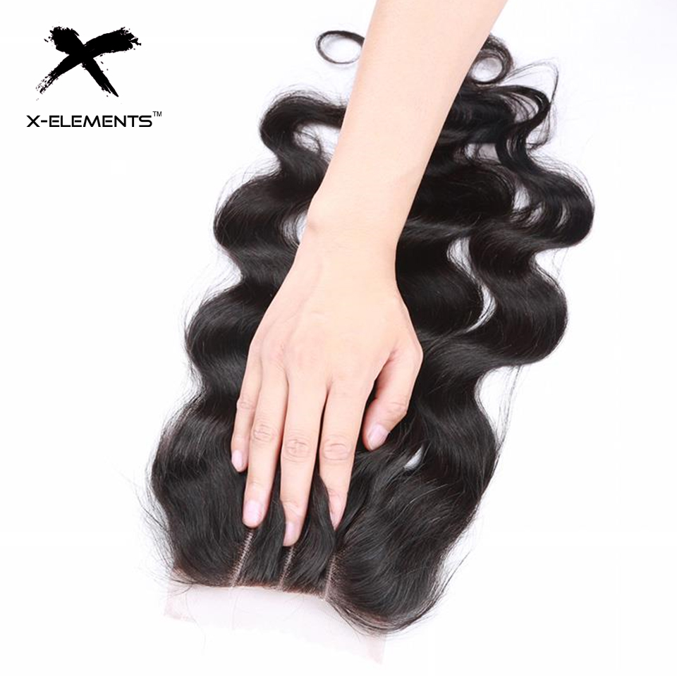 X-Elements Hair 4x4 Lace Closure Body Wave Hair Weaves Non-Remy Brazilian Human Hair Extensions Natural Color Swiss Lace Closure (2)