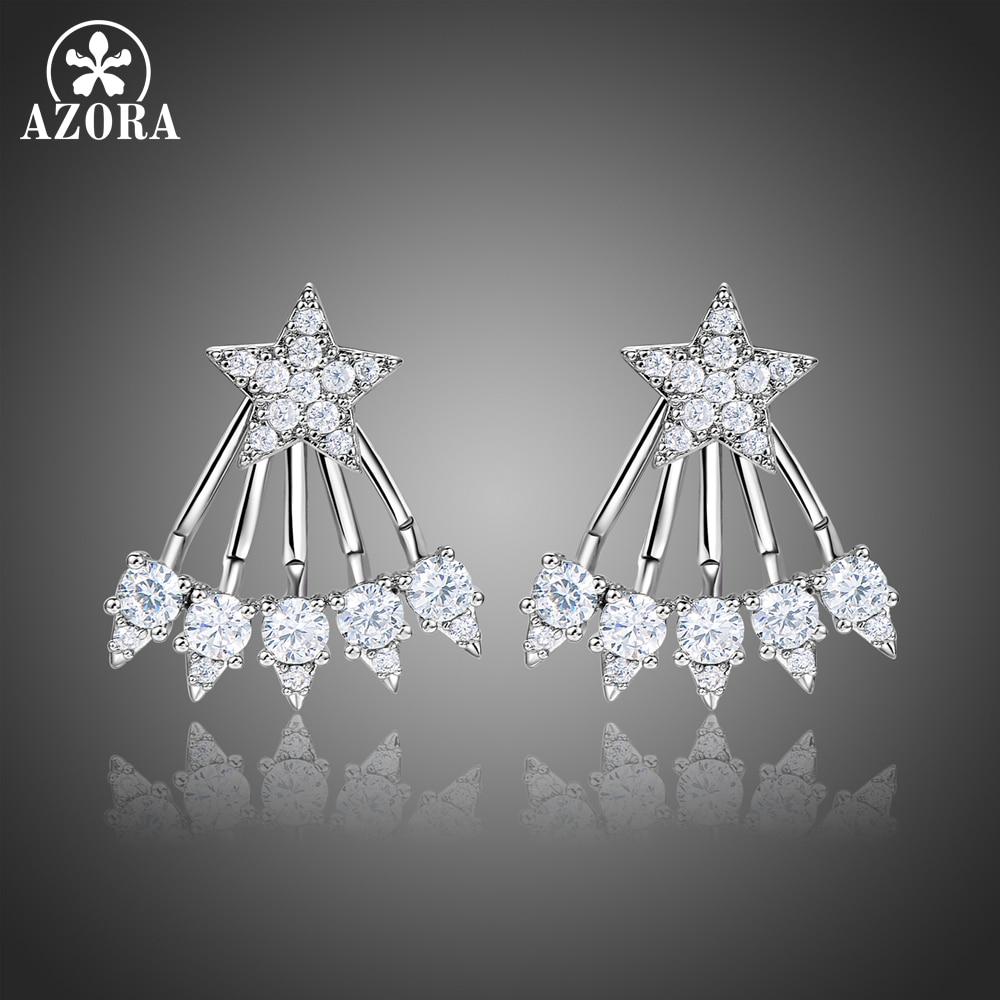 4679d20eadce AZORA cinco garras AAA + claro Cubic Zirconia pentagrama Pendientes de  diamantes de imitación geométrica Pendientes de botón Pendientes Aro Mujer  joyas ...