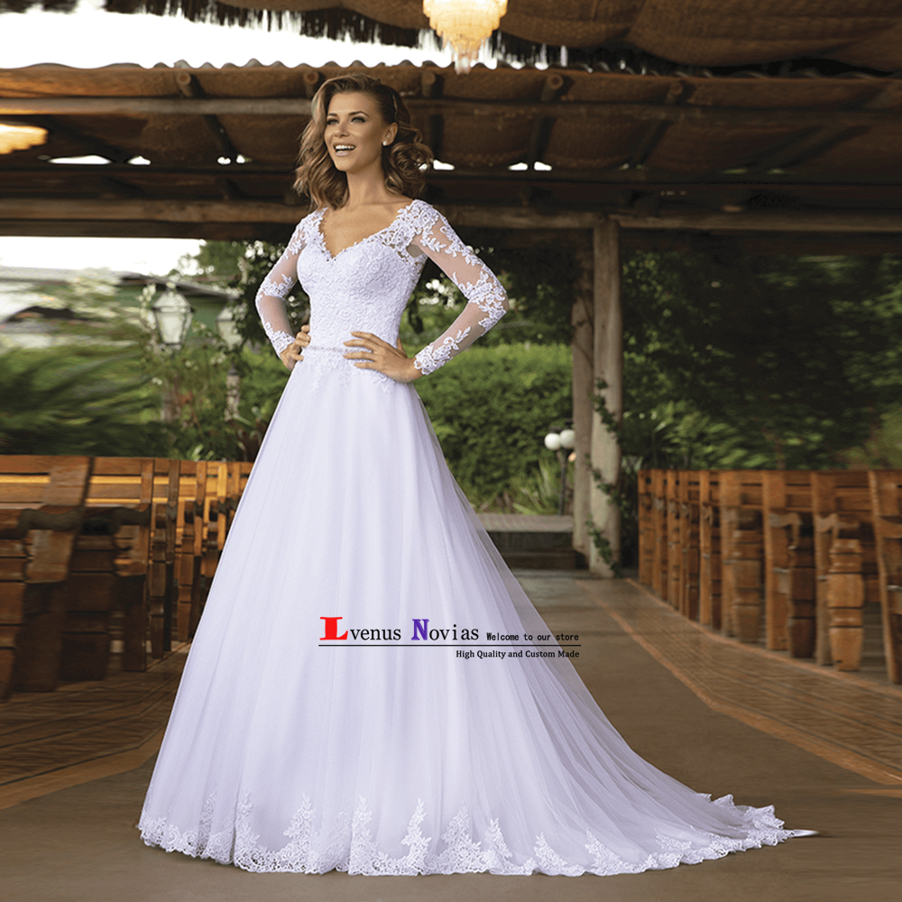 vestido de noiva barato Cheap Lace A Line Wedding Dresses 2019 Vintage Wedding Dress Saudi Arabia