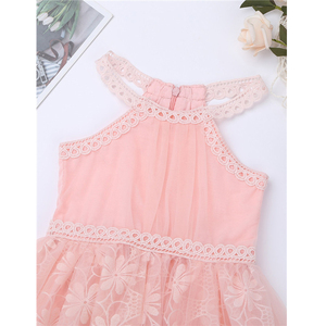 Image 5 - Kids Girls Sleeveless Halter Neck Floral Lace Tulle Flower Girl Dress for Wedding Pageant Birthday Party Princess Dress Vestidos