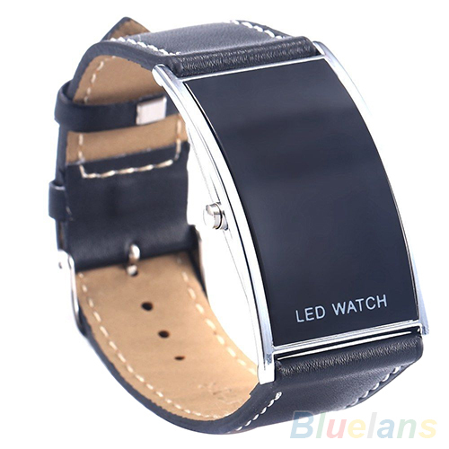 Men Women Stainless Steel LED Digital sport Watch Date Rectangle Dial Faux Leather Strap Electronics Military Wrist Watch faux leather strap number watch