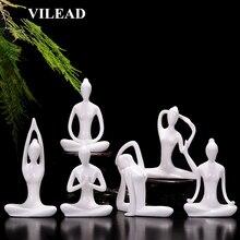 miniature Home Decor 12 Styles White Ceramic Yoga Figurines Ename Miniatures Abstract Yog Stattues Yoj Vintage