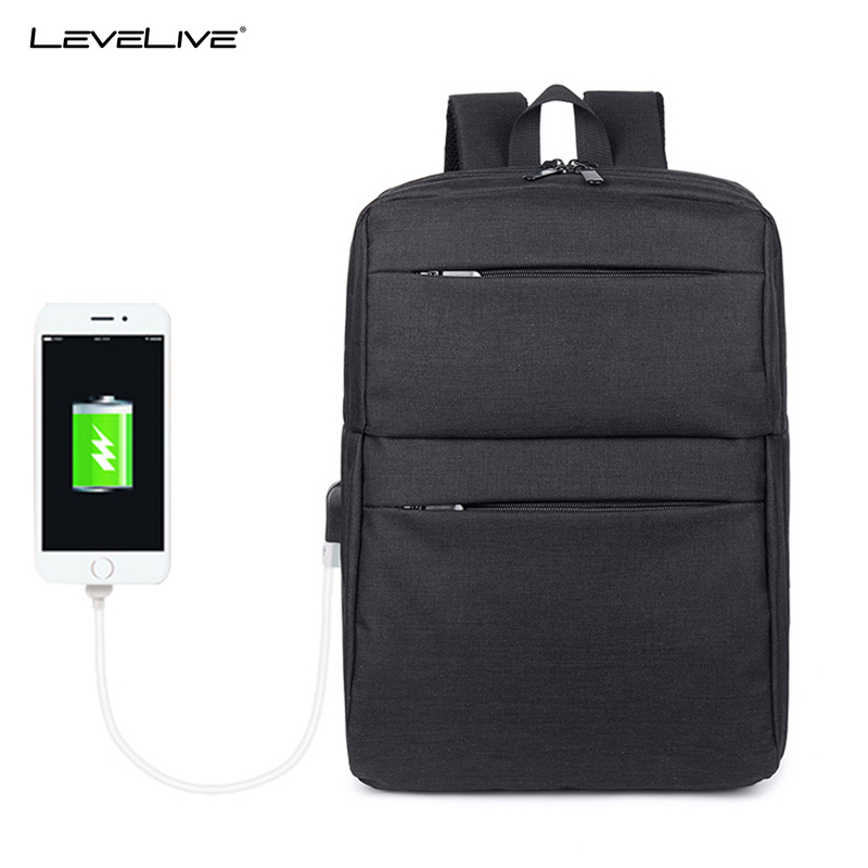 LeveLive Waterproof Computer Bagpack Rucksack Male Female USB Recharging 15 Laptop Backpack for Men Women School Bag Mochila army green men women laptop backpack 15 15 6inch rucksack school bag travel waterproof backpack men notebook computer bag black