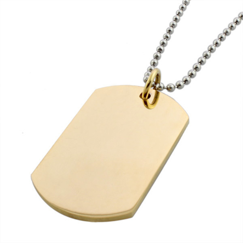 Stainless steel gold color dog tag pendant pingente statement