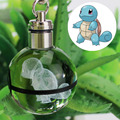 Squirtle Novelty Mini Portable Pokemon Go Engraving Round 3D Crystal Glass Ball LED Keychain Colorful Pendant Child Gift