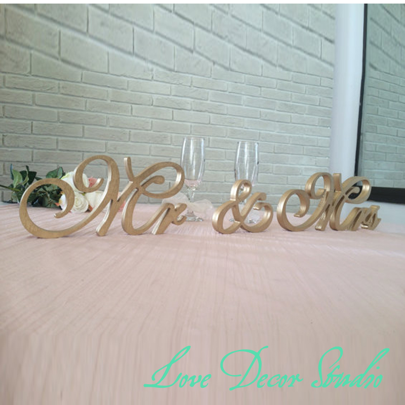 Gold mr mrs sign freestanding letters top table for Silver letters freestanding