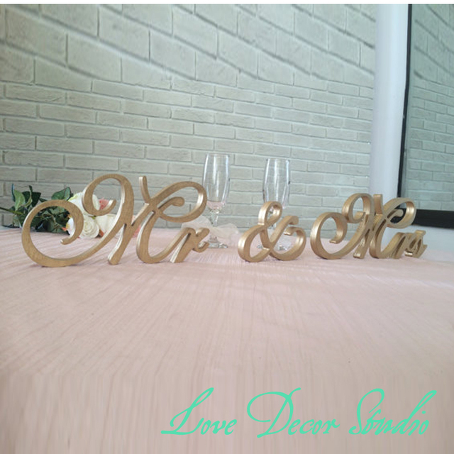 Gold Mr. & Mrs. sign freestanding letters top table decoration ...