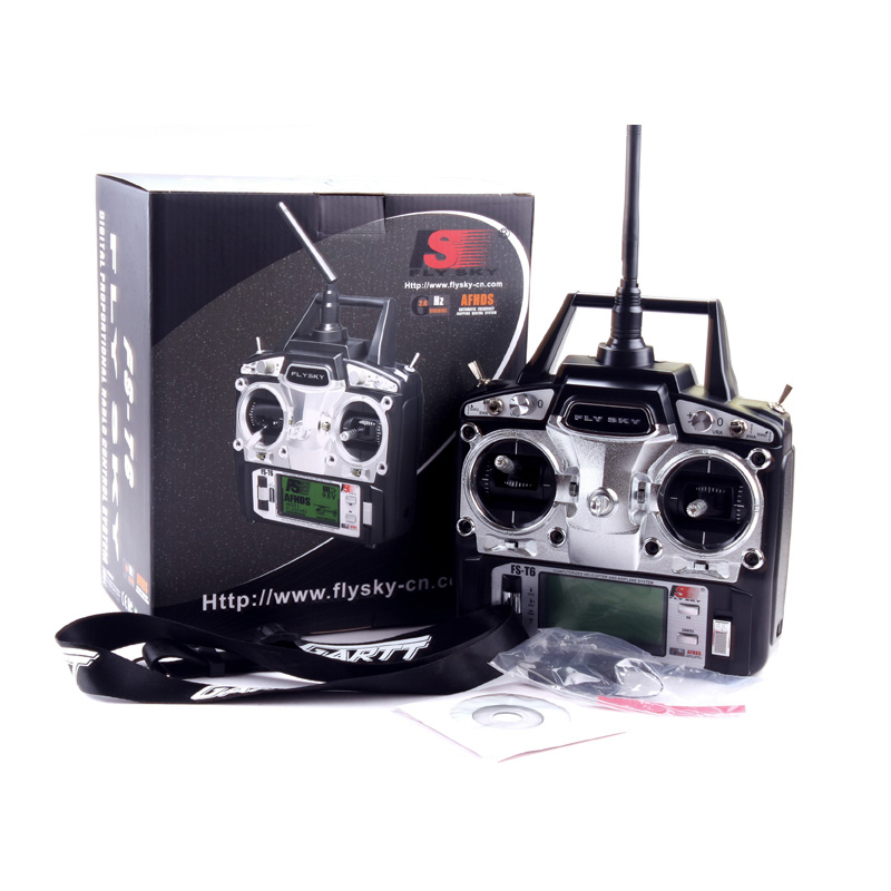 1pcs FS FlySky FS-T6 FS T6 6ch 2.4g with LCD Screen Transmitter with FS R6B Receiver For RC Helicopter drone flysky fs t6 2 4g 6ch tx rx fs r6b rc radio control transmitter receiver system